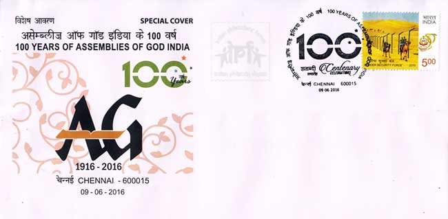 Special Cover on 100 years of Assemblies of God India