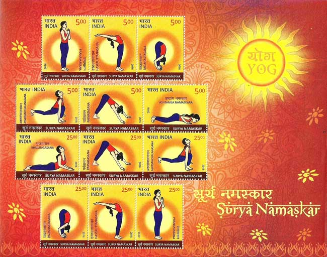 Commemorative Stamps on Surya Namaskar released on 20th June 2016 at New Delhi