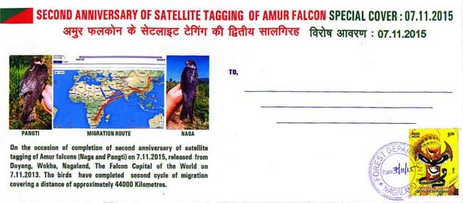 Special Cover on Second Anniversary of Satellite Tagging of Amur Falcons