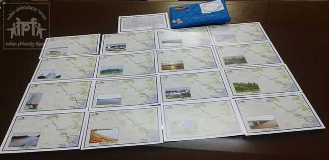 Picture postcards tracing the path of Godavari with the cancellations released at Hyderabad