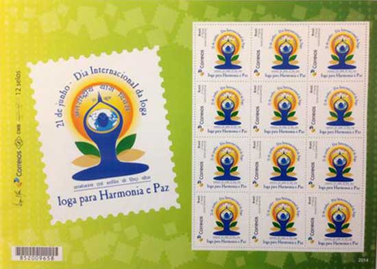 Customised stamp on International Yoga Day from Brazil