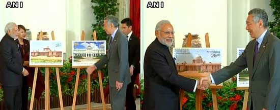 Prime Minister Narendra Modi and Singapore Prime Minister Lee Hsien Loong releasing India - Singapore Joint issue commemorative stamps