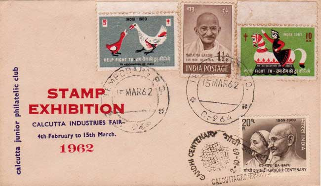 Ornamental use of 1948 Gandhi Stamp in 1962