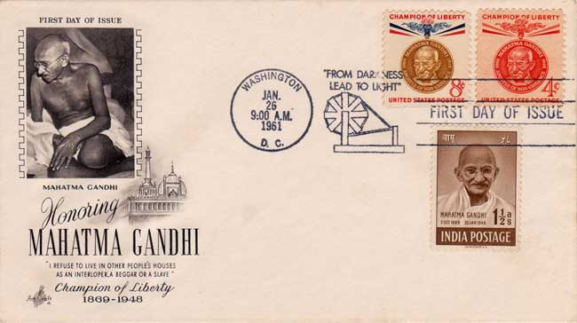 Ornamental use of 1948 Gandhi One and half anna stamp on US Cover