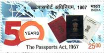 Commemorative stamp on The Passports Act 1967